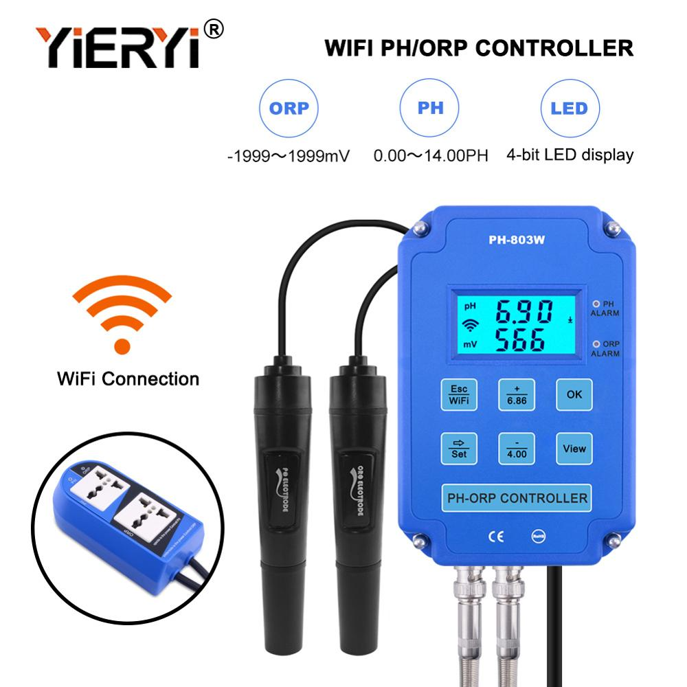 yieryi Digital pH WiFi ORP Redox 2 in 1 Controller Monitor Output Power Control Electrode Probe BNC for Aquarium недорого