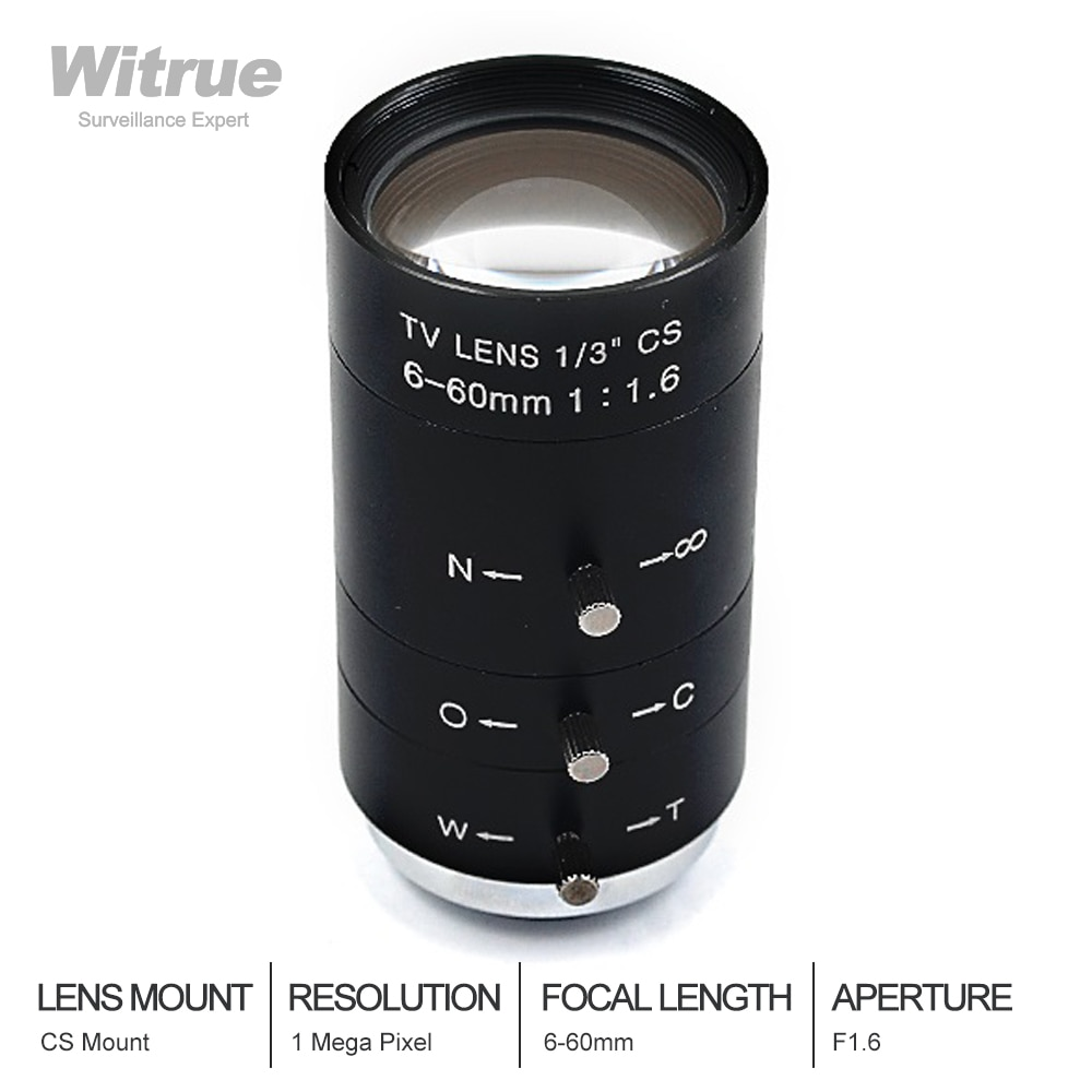 Witress-عدسة CCTV متغيرة البؤرة 6-60 مللي متر ، تركيب CS Lensse ، تكبير قزحية يدوي F1.6 لكاميرا CCTV ، مجهر صناعي
