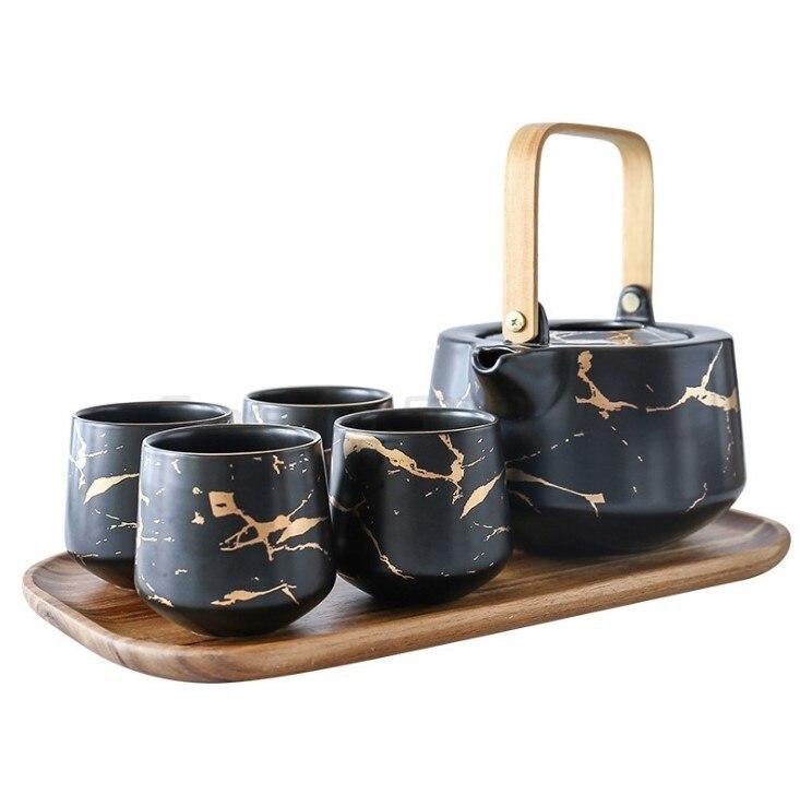 رخامي طقم شاي منزلي على الطريقة اليابانية أبيض وأسود السيراميك فنجان شاي بعد الظهر مع قاعدة Acacia Mangium دعم إبريق الشاي