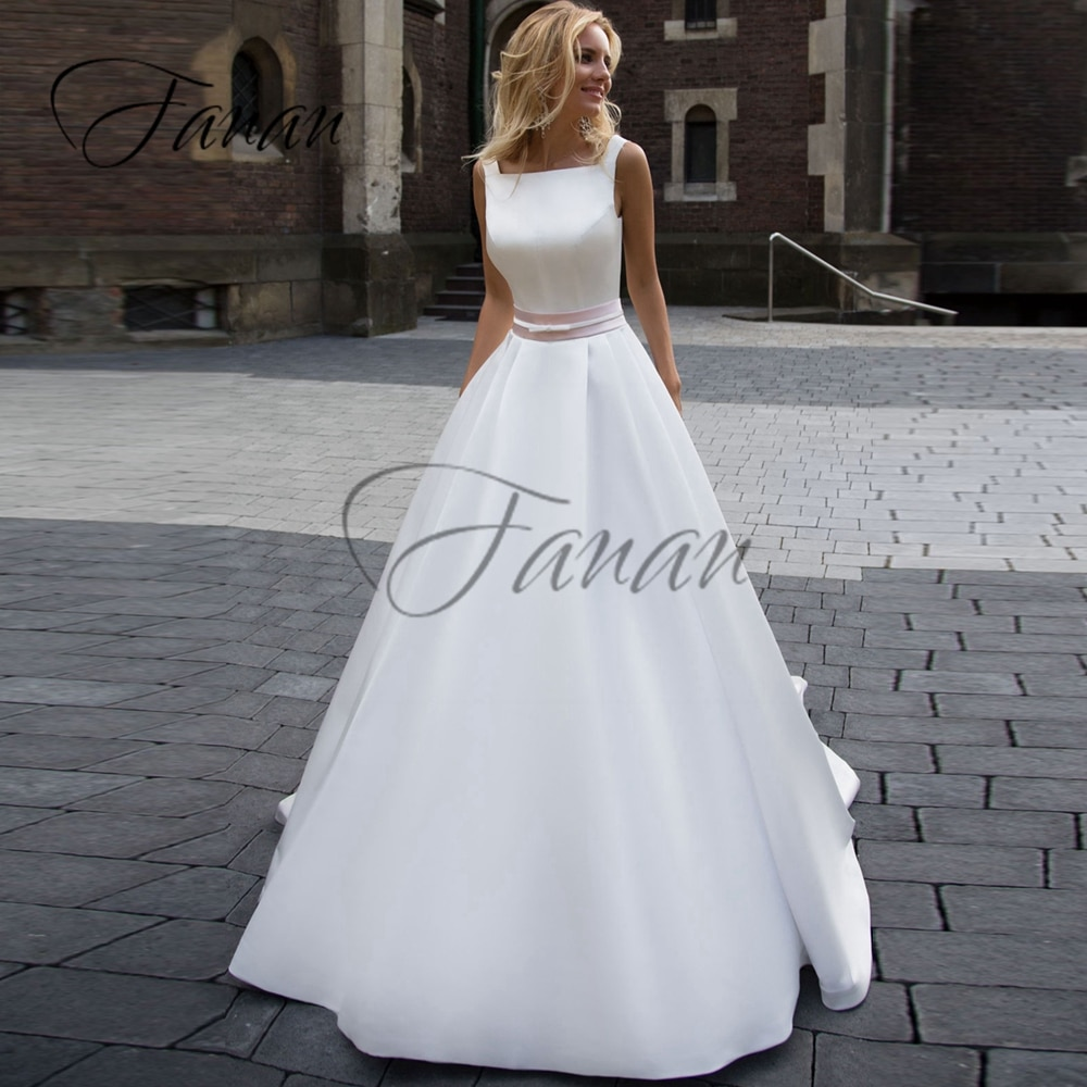 Promo Square Collar Simple Spaghetti Straps Wedding Dresses Backless A-Line Sleeveless Satin Bridal Gown vestido de noiva платье