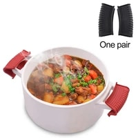 1 set pot holder sleeve multi purpose heat insulated lightweight removable non slip silicone grip pinch mitts cooking pinch grip