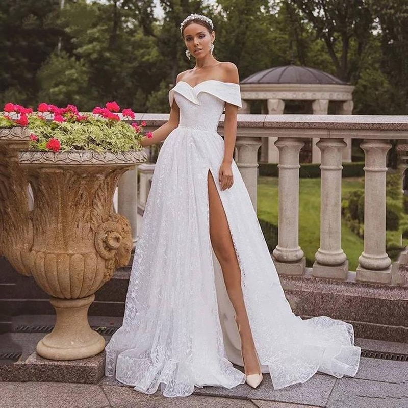 Promo Sexy Elegant Wedding Dress With Tulle And Boat Neck Tie Card Shoulder Strap High Slit Side Bridal Gown Large Size Customization