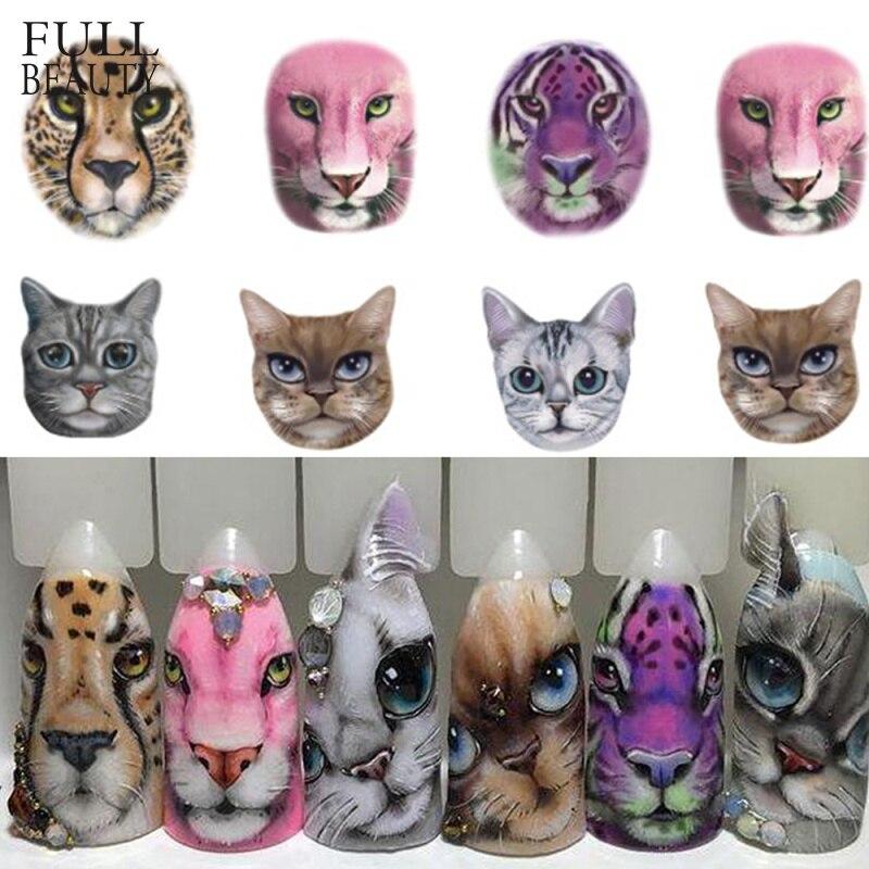 1 лист стикеров для ногтей, сексуальные дизайнерские слайды с котом/тигром/леопардовым принтом для временного тату и декора ногтей, CHSTZ455-501