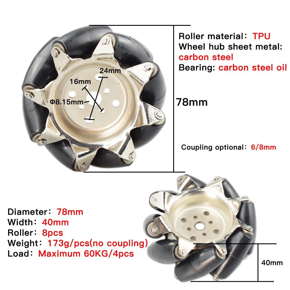 60KG Heavy Load 4pcs 3inch Steel Mecanum Wheel Universal Omnidirectional Wheel for Large Load Robot Handling, Transport Car Move enlarge