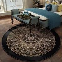 classic light luxury retro black gold pattern living room bedroom hanging basket chair round non slip floor mat carpet tapis rug