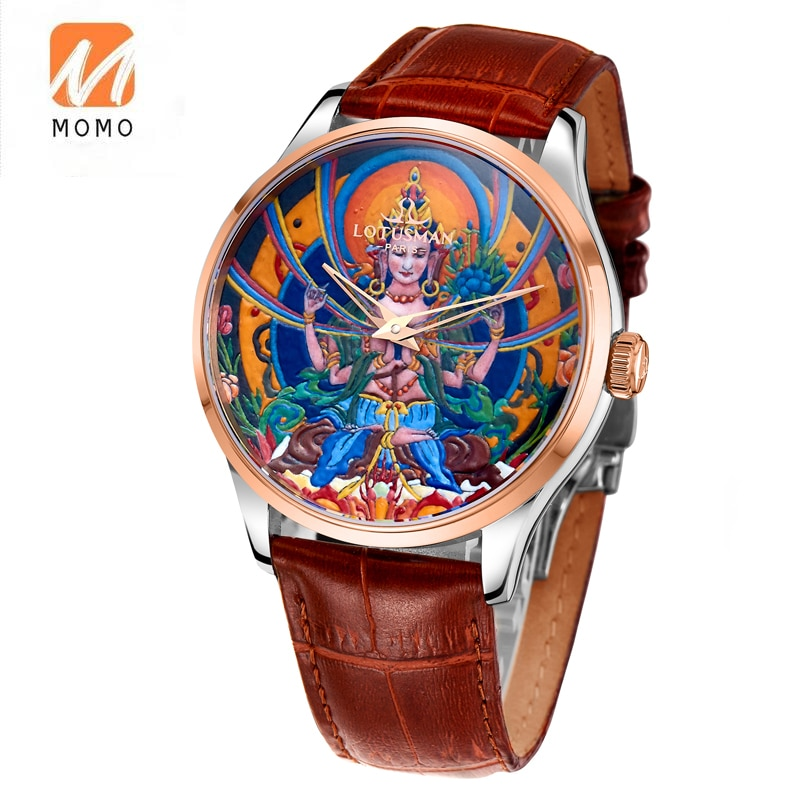 Мужские кожаные часы с автоматическим механизмом, роскошные часы, мужские часы на заказ