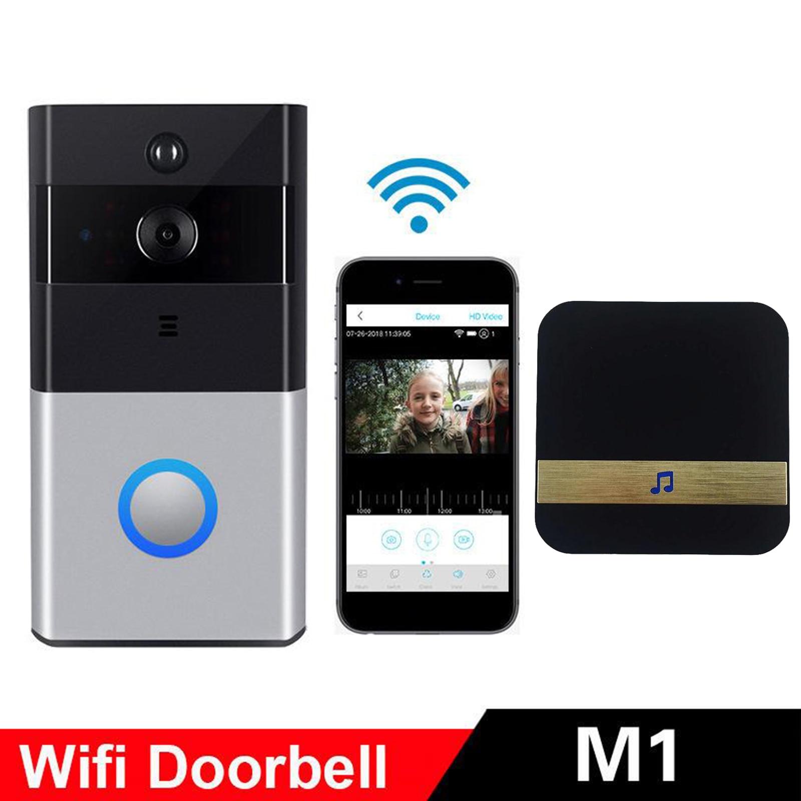 جرس باب لاسلكي ذكي مع حلقة WiFi ، وكاميرا فيديو ، والاتصال الداخلي لأمن المنزل