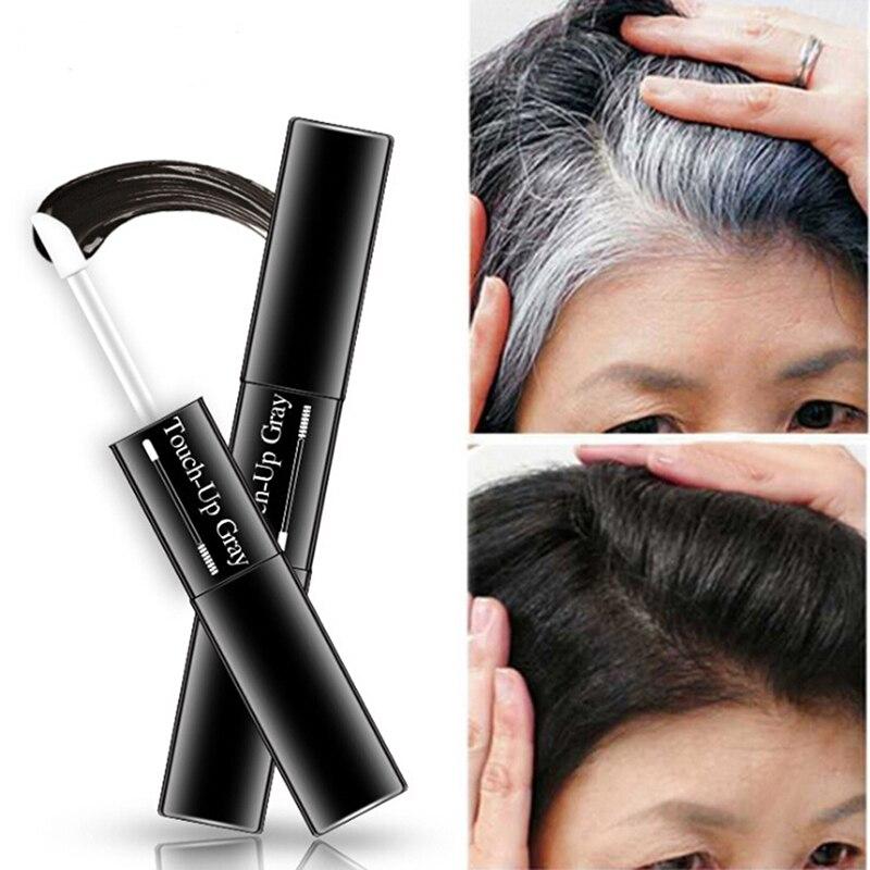 Jednorazowa farba do włosów pióro natychmiastowe szare pokrycie korzenia kolor włosów biały do ciemnobrązowego czarny 2 pędzle miękka główka łatwe nakładanie tymczasowe