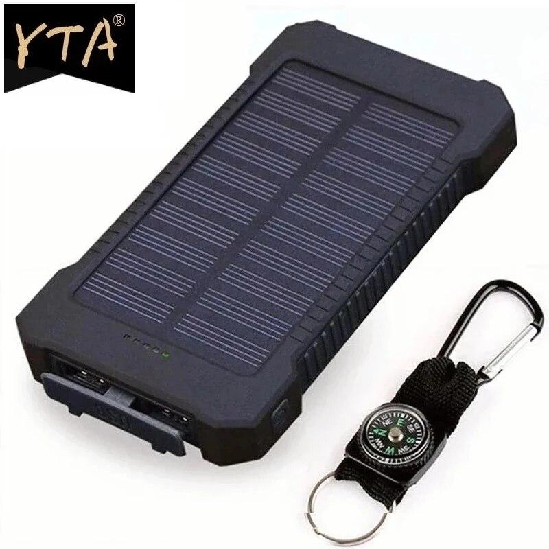 Solar Power Bank Waterproof 30000mAh Solar Charger 2 USB Ports External Charger Powerbank For Xiaomi