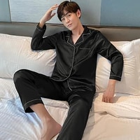 spring and autumn solid color lapel long sleeved pajamas two piece set mens rayon home pajamas set cardigan top loose trousers