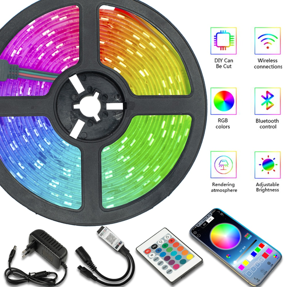 LED Strip Lights Bluetooth WIFI IR Control RGB5050 2835 Flexible Ribbon 5M10M20M Tape Diode Backgrou
