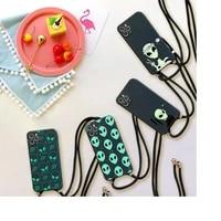 fashion e t alien phone case for iphone 7 8 11 12 x xs xr mini pro max plus strap cord chain lanyard soft