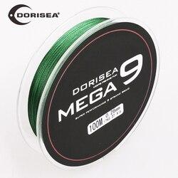 Dorisea mega 9 fios de qualidade superior trançado extremo 100 m 300 m 6lb-310lb pe linha de pesca multifilamento fio pesca