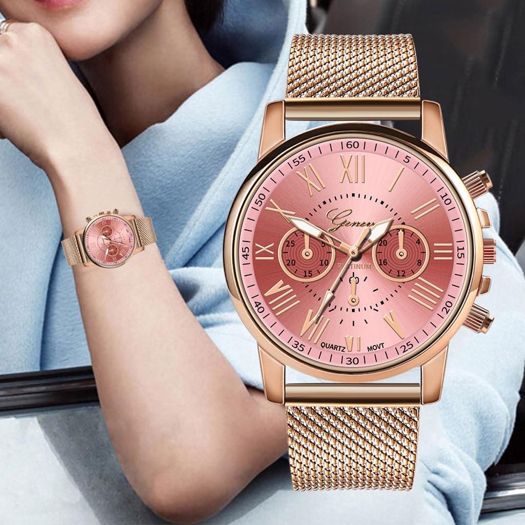 De cuarzo de lujo relojes de Mujer Deporte Esfera de acero inoxidable militar Reloj de pulsera con correa de cuero Casual de negocios llamativos Reloj