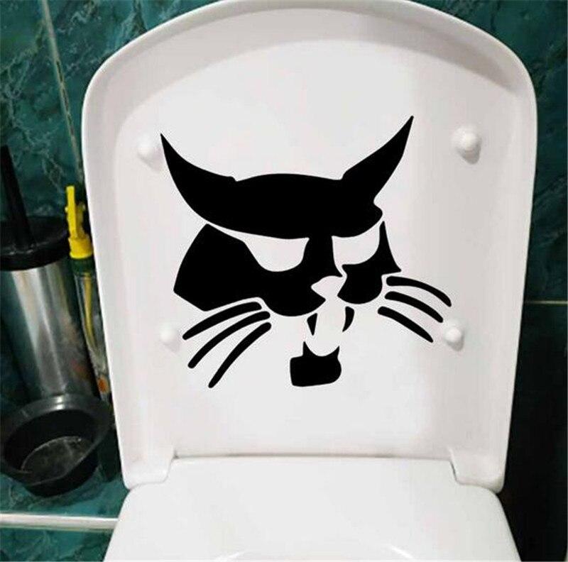 Cara gato negro aseo etiqueta asiento nevera pared de la etiqueta engomada