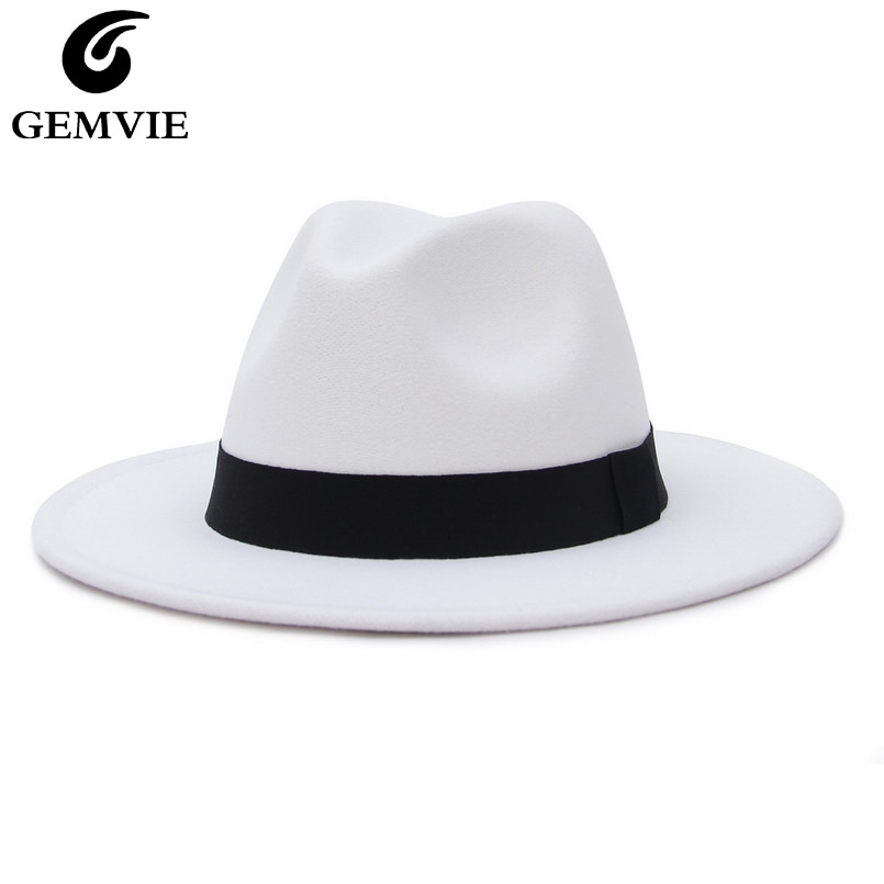 GEMVIE Neue Breite Krempe Weiß Fedora Hut Für Frauen Wollfilz Hüte Für Männer Herbst Winter Panama Glücksspiel Jazz Kappe gestreiften Schwarz Band