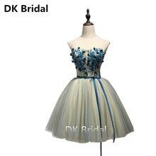 Amostra Real Vestido de Baile Apertado 2019 Verde Querida Apliques Elegantes Vestidos de Noite Curto Novo Para meninas júnior vestido homecoming