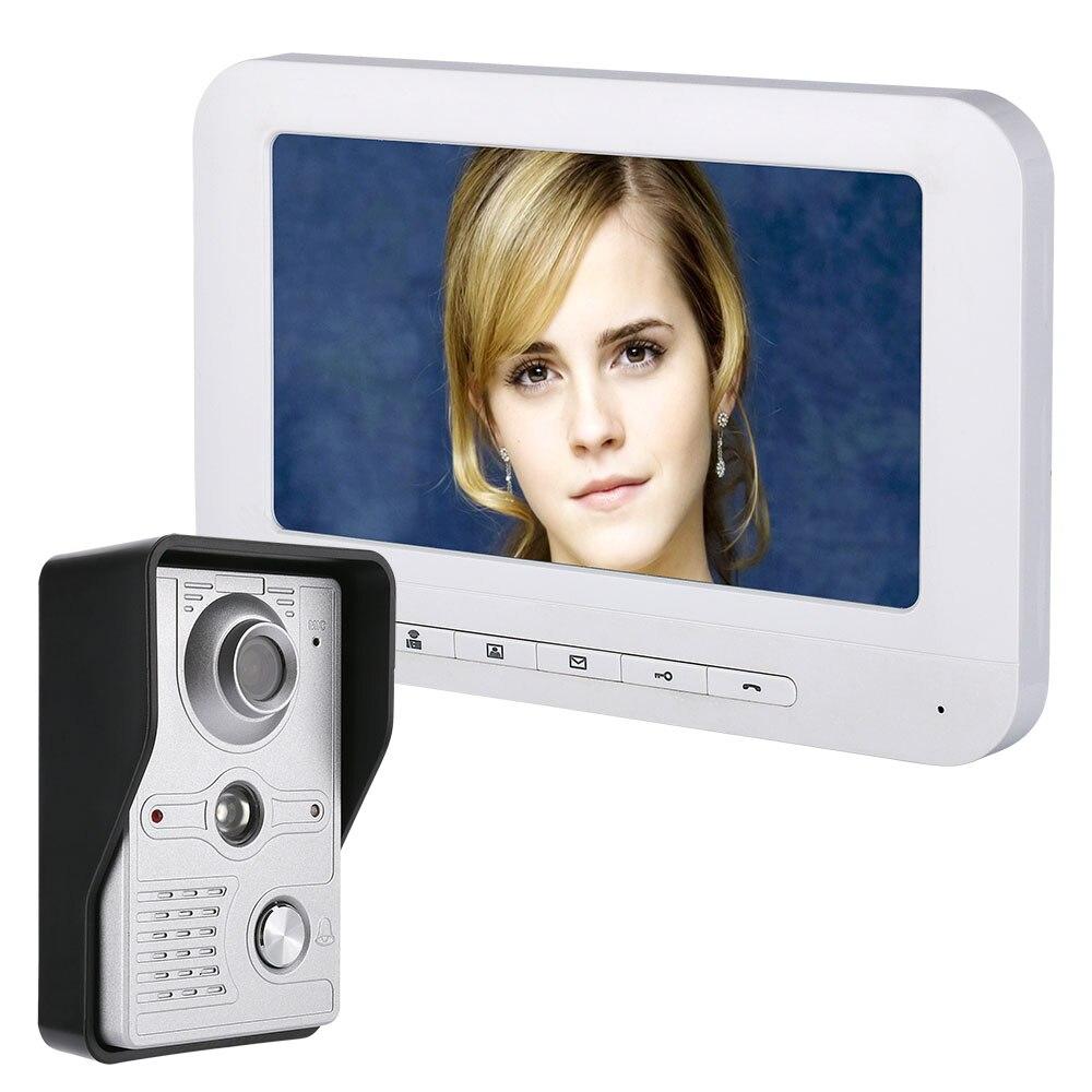 """Mountainone 7 """"LCD cable de vídeo Puerta de teléfono Visual, Video, intercomunicador manos libres sistema de intercomunicación con impermeable al aire libre cámara de infrarrojos"""
