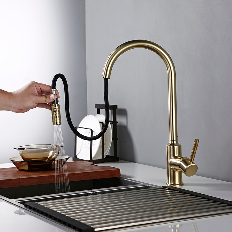 Bagnolux Brushed Gold Brass Kitchen Faucet NEW Premium Gooseneck Pull Out Kitchen Faucet Sink Mixer Tap Solid Brass Construction luxury gold kitchen faucet pull out