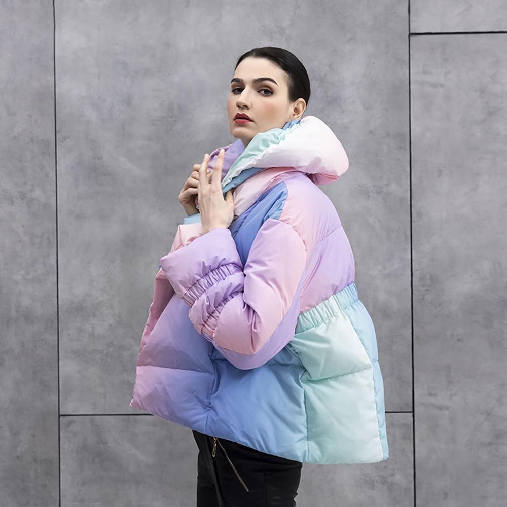 الشتاء النساء الموضة التعادل صبغ سترة ملونة الدافئة سميكة بطة أسفل مقنعين معاطف قصيرة ملابس خارجية أنيقة السيدات معطف شارع العليا