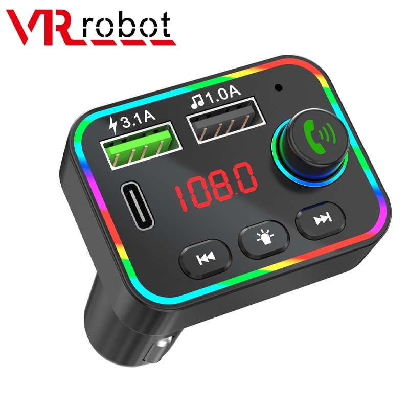 AliExpress - VR robot Bluetooth Car FM Transmitter MP3 Audio Player Wireless Handsfree Car Kit Adapter with PD USB 3.1A Fast Charging