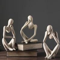 nordic abstract thinker statue resin figurine office home decoration desktop decor handmade crafts sculpture modern art statue