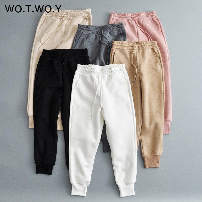 Женские брюки-джоггеры WOTWOY, зимние, с высокой талией и карманами