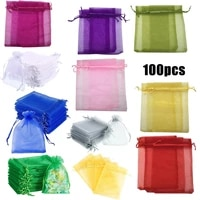100pcs organza gift bags jewelry packaging gift candy wedding party goodie packing favors pouches drawable bags present