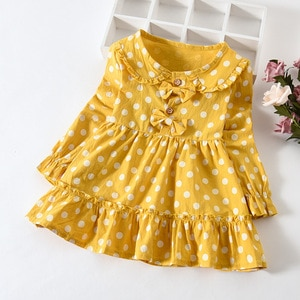 Pastel Clothes New Spring Autumn Toddler Girl Dress Cute Cotton Long Sleeve Dots Kids Dresses For Girls 0-3 Years Girls Clothing