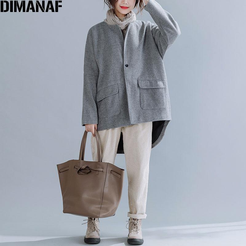 DIMANAF-معطف شتوي كبير الحجم للنساء ، عتيق ، صوف ومزيج ، سميك ، ملابس نسائية ، ملابس خارجية ، معطف فضفاض بأزرار كارديجان