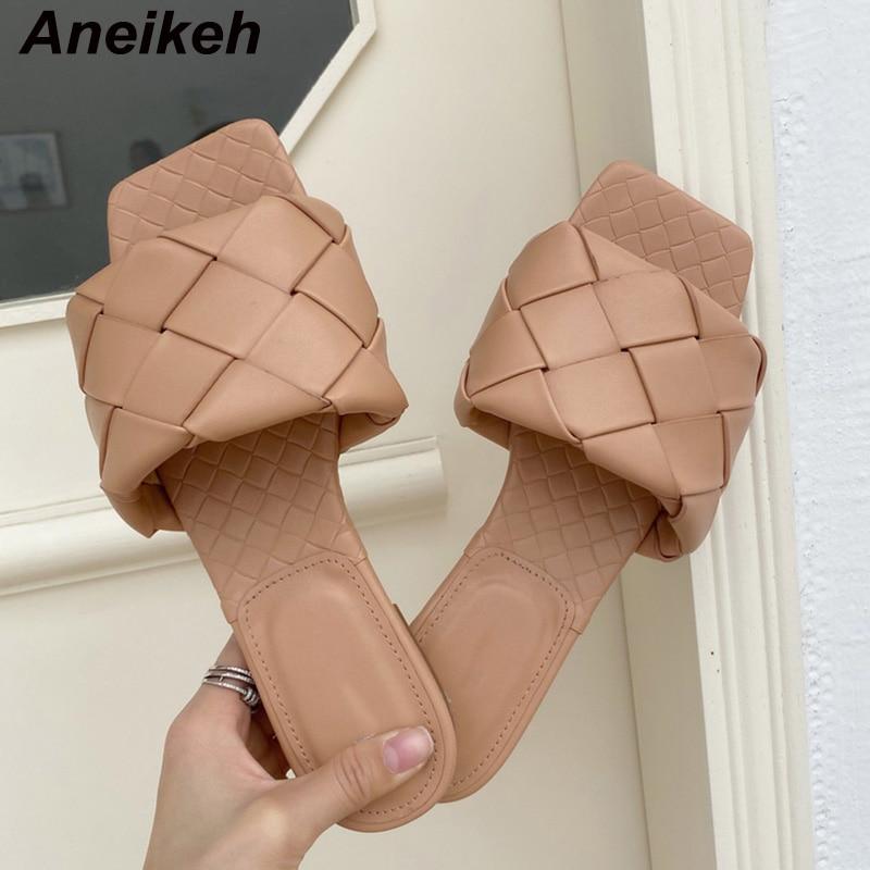 Aneikeh 2020 Mode Handgemachte Webart Hausschuhe Karree Frauen Slipper Casual Flache Schuhe Sommer Sandalen Damen Maultiere Sexy Rutschen