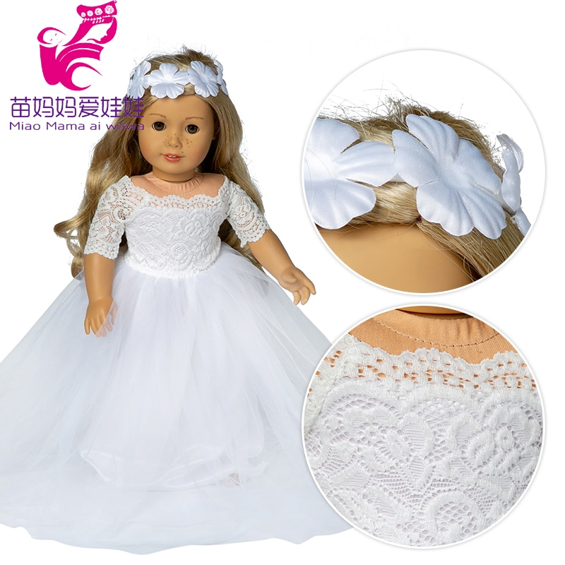 Boneca americana 45cm, vestido de casamento com flor apto para 18 polegadas, boneca noiva vestido para brinquedos