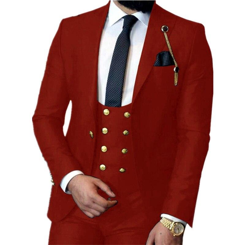 Handsome One Button Groomsmen Peak Lapel Groom Tuxedos  Men Suits Wedding/Prom/Dinner Best Blazer(Jacket+Pants+Vest+Tie) 400