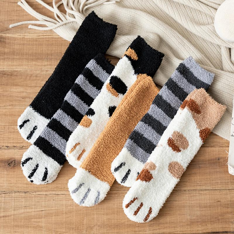 Lovely Winter Cat Claws Socks Cute Thick Warm Sleep Floor Socks Plush Coral Xmas Gifts UK sport Socks camping hiking socks