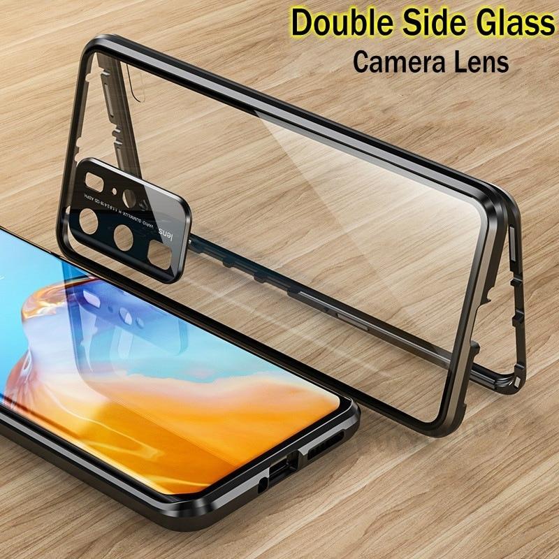 Funda de cristal magnético para Huawei P30 P40 Pro Lite lente de Metal doble cubierta templada protectora para Huawei Honor 30 20 Pro