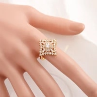 gold color cz flower diamond rings for women trendy african arab ring middle east jewelry charm party wedding bridal gift