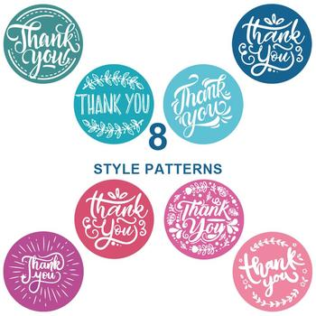 500Pcs/roll 8 Types Thank You Sticker for Seal Label Scrapbooking 2