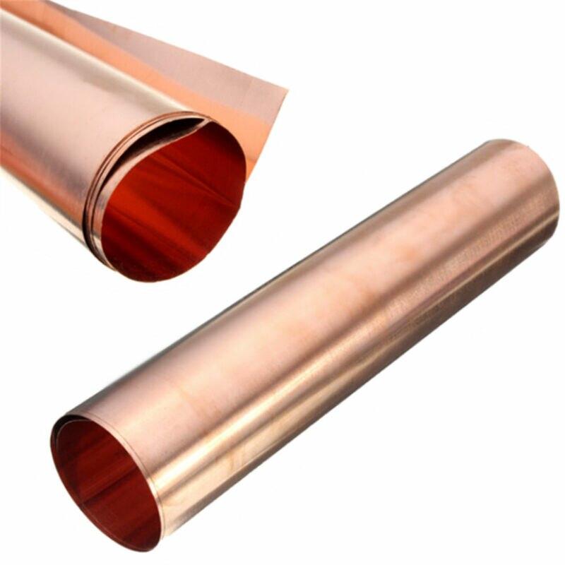 1 peça de 0.1x200x500mm 99.9% placa de cobre puro placa de cobre folha de metal fina rolo
