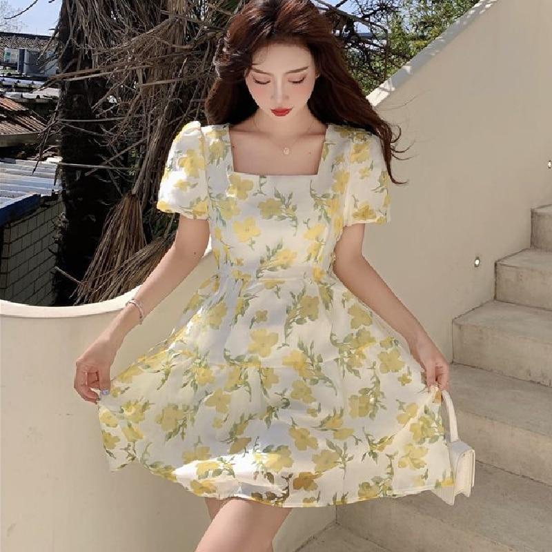 2021 Summer Elegant Floral Mini Dress Korean Female Evening Party One Piece Dresses Women Casual Puff Sleeve Fairy Vintage Dress