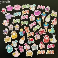 50pcslotmix new baby design wood stickersbaby button kids room decoration diy craft materialscrapbooking kit lacing beading