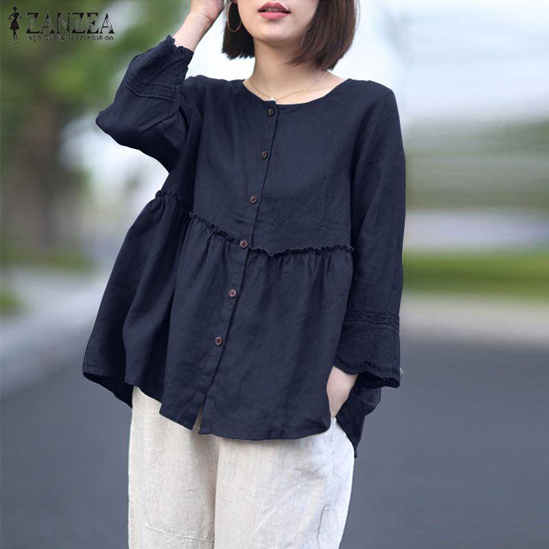 ZANZEA Solid Cotton Linen Blusas Women's Blouse Summer 3/4 Sleeve Lace Crochet Shirt Elegant Buttons Down Tops Ruffles Chemise