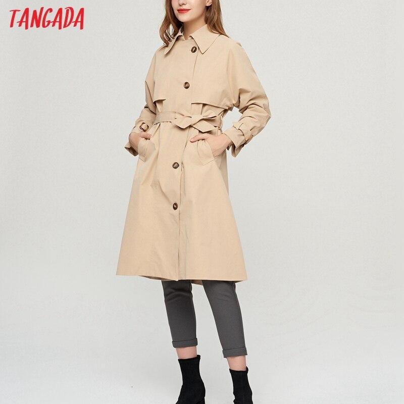 Tangada 2021 الخريف النساء انكلترا نمط الكاكي الكلاسيكية معطف طويل مع حزام مكتب سيدة أنيقة معاطف 2Z23