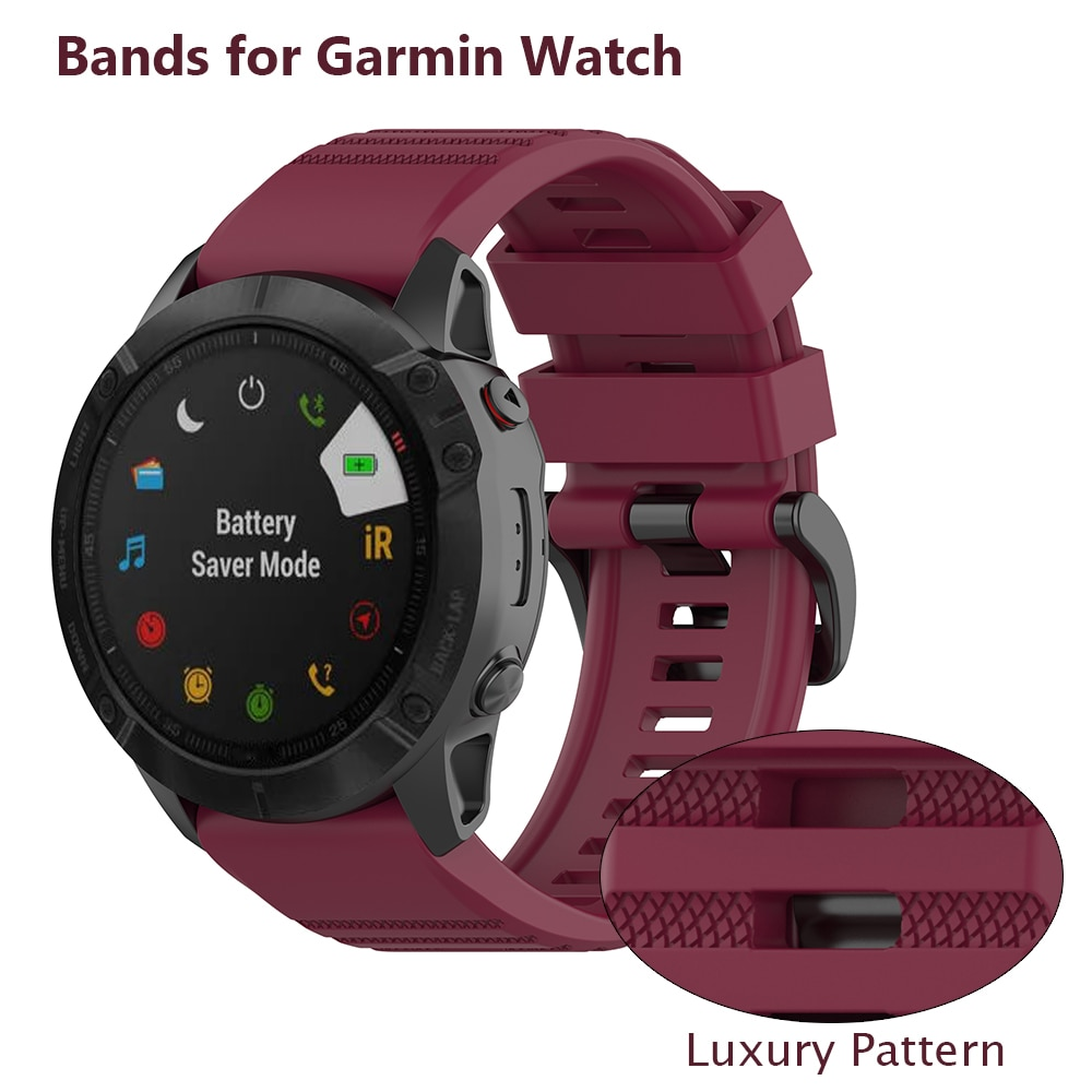 Grupo oficial para Garmin Fenix 5 Garmin Fenix 5/Fenix/6/Fenix 6 Pro/Fenix 6 zafiro banda 22mm silicona reloj deporte bandas con cierre de Metal