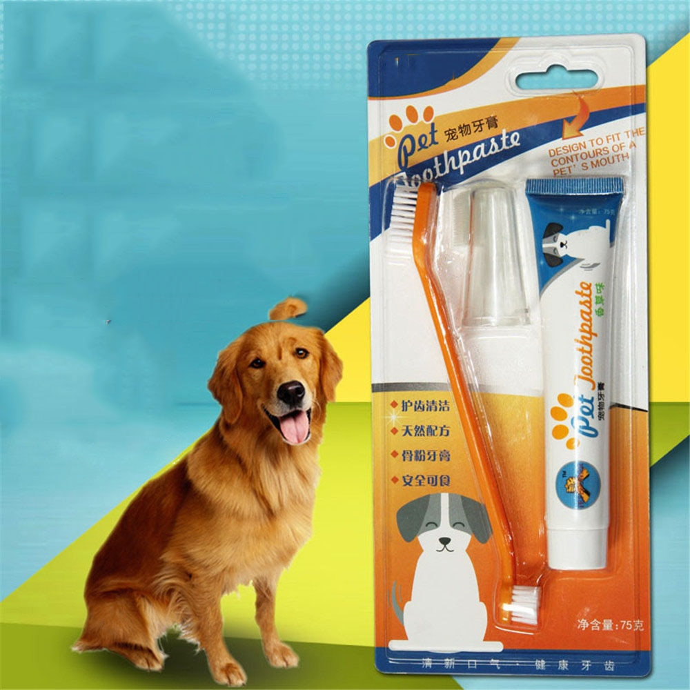 Pet Healthy Edible Toothpaste With Toothbrush Small Dog Cats Mouth Teeth Cleaning Care Vanilla Beef