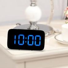 New USB/Battery LED Alarm Clock Digital Clock LED Display Voice Control Electric Snooze Function Night Backlight Desktop Table C