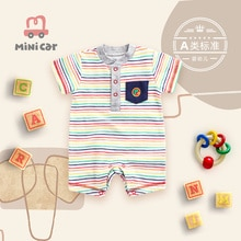 Boy's one-piece suit, hatsuit, newborn baby's summer out clothes, crawling clothes, short sleeve ope