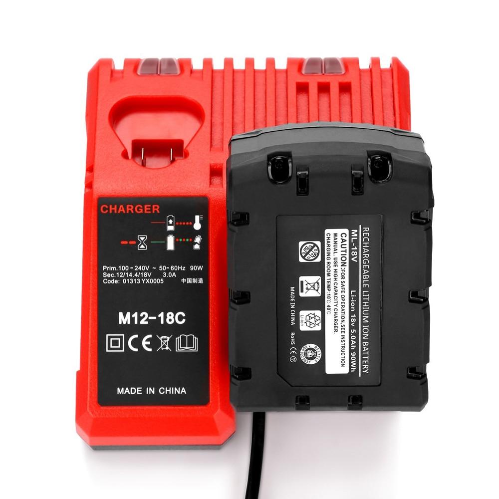 M12-18C Li-ion Battery Charger for Milwaukee 12 V 14.4V 18V C1418C 48-11-1815/1828/1840 M18 M14 M12 Lithium Battery enlarge