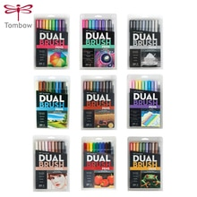 TOMBOW Double Head Markers AB-T 10pcs/set  Calligraphy Pen Color Pen Soft Brush Pen Drawing Nomination Art Supplies