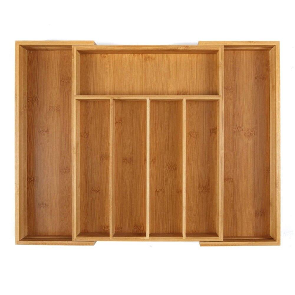 Caja de almacenamiento multifunción tenedor cubertería bandeja cajón práctico ecológico Oficina cocina de bambú uso doméstico expandible