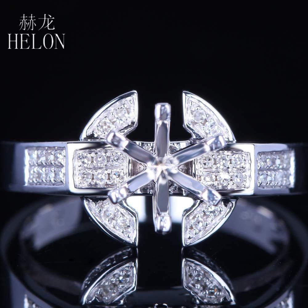 HELON 6.5mm Round Cut Sterling Silver 925 Natural Diamond Engagement Wedding Semi Mount Ring Setting 6 Prong Women Fine Jewelry